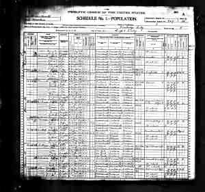 John Barrett family on the 1900 Census